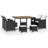 vidaXL udendørs spisebordssæt i 21 dele polyrattan akacietræ sort