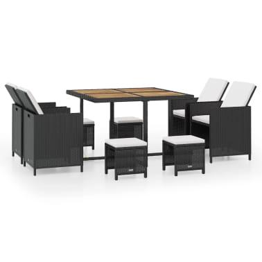 vidaXL 9 Piece Outdoor Dining Set Poly Rattan and Acacia Wood Black[1/10]