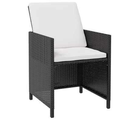 vidaXL Outdoor Dining Set 21 Pieces Black Poly Rattan Acacia Wood[2/10]