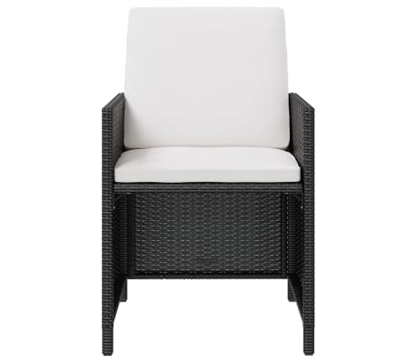 vidaXL Outdoor Dining Set 21 Pieces Black Poly Rattan Acacia Wood[3/10]