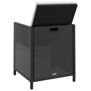 vidaXL Outdoor Dining Set 21 Pieces Black Poly Rattan Acacia Wood[4/10]
