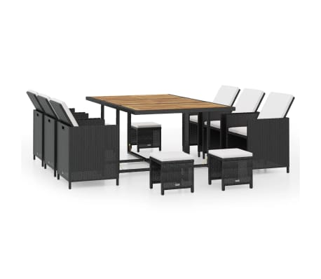 vidaXL Set mobilier de exterior 11 piese negru, poliratan, lemn acacia