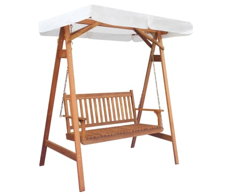 vidaXL Garden Swing Chair with Canopy Eucalyptus Acacia Wood[1/5]