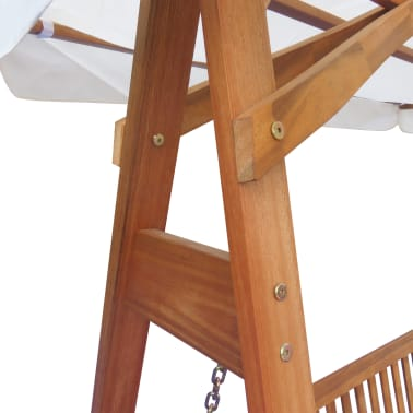 vidaXL Garden Swing Chair with Canopy Eucalyptus Acacia Wood[2/5]