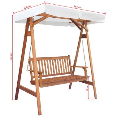 vidaXL Chaise balançoire pour jardin + baldaquin eucalyptus acacia[5/5]
