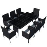 vidaXL Set mobilier de exterior 17 piese, poliratan, negru