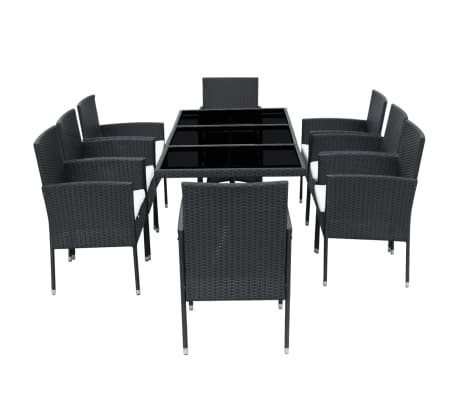vidaXL 9 Piece Outdoor Dining Set with Cushions Poly Rattan Black[3/8]
