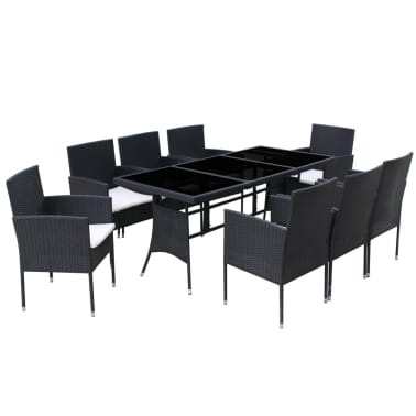 vidaXL 9 Piece Outdoor Dining Set with Cushions Poly Rattan Black[4/8]