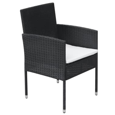 vidaXL 9 Piece Outdoor Dining Set with Cushions Poly Rattan Black[6/8]