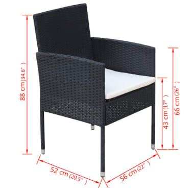 vidaXL 9 Piece Outdoor Dining Set with Cushions Poly Rattan Black[8/8]