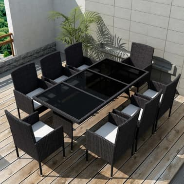 vidaXL 9 Piece Outdoor Dining Set with Cushions Poly Rattan Black[1/8]