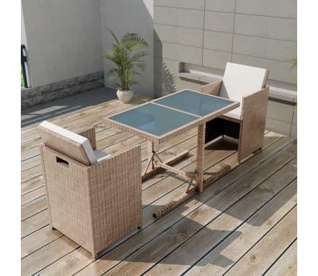 Gartenmöbel set rattan  vidaXL 7-tlg. Gartenmöbel-Set Poly Rattan Grau/Beige günstig kaufen ...