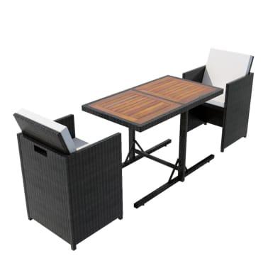 vidaXL Mesa y sillas bistró de jardín 3 pzs y cojines poli ratán negro[2/11]