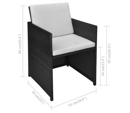 vidaXL Mesa y sillas bistró de jardín 3 pzs y cojines poli ratán negro[11/11]