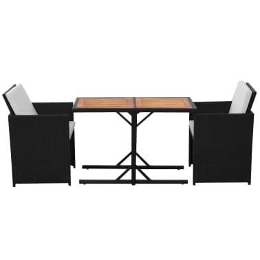 vidaXL Mesa y sillas bistró de jardín 3 pzs y cojines poli ratán negro[3/11]