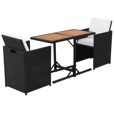 vidaXL Mesa y sillas bistró de jardín 3 pzs y cojines poli ratán negro[4/11]