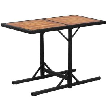 vidaXL Mesa y sillas bistró de jardín 3 pzs y cojines poli ratán negro[7/11]