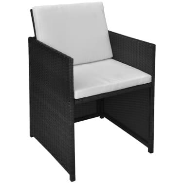 vidaXL Mesa y sillas bistró de jardín 3 pzs y cojines poli ratán negro[8/11]