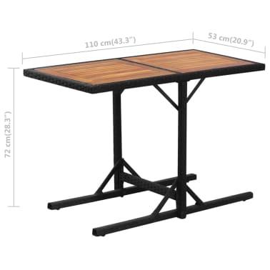 vidaXL Mesa y sillas bistró de jardín 3 pzs y cojines poli ratán negro[10/11]