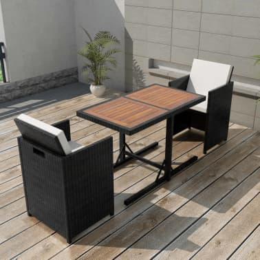 vidaXL Mesa y sillas bistró de jardín 3 pzs y cojines poli ratán negro[1/11]