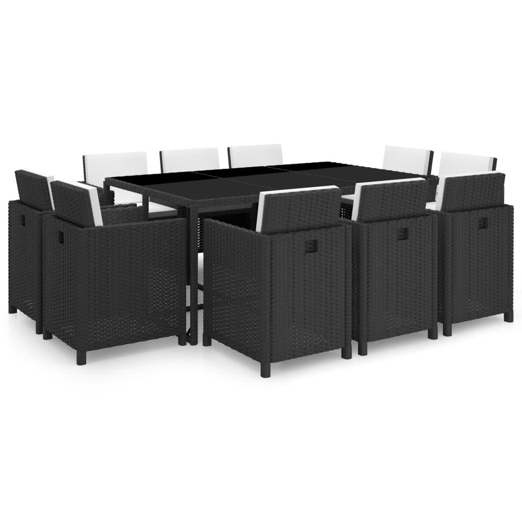 vidaxl ensemble de mobilier noir poly rotin 31 pcs salon. Black Bedroom Furniture Sets. Home Design Ideas