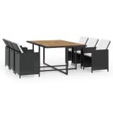 vidaXL udendørs spisebordssæt i 31 dele polyrattan akacietræ sort