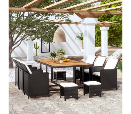Acheter vidaXL Mobilier de jardin 31 pcs Noir Bois d\'acacia Résine ...