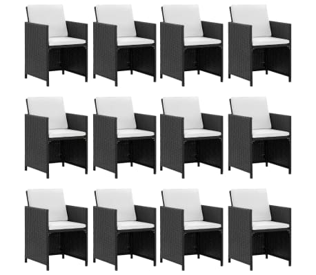 vidaXL 13 Piece Outdoor Dining Set with Cushions Poly Rattan Black[4/10]