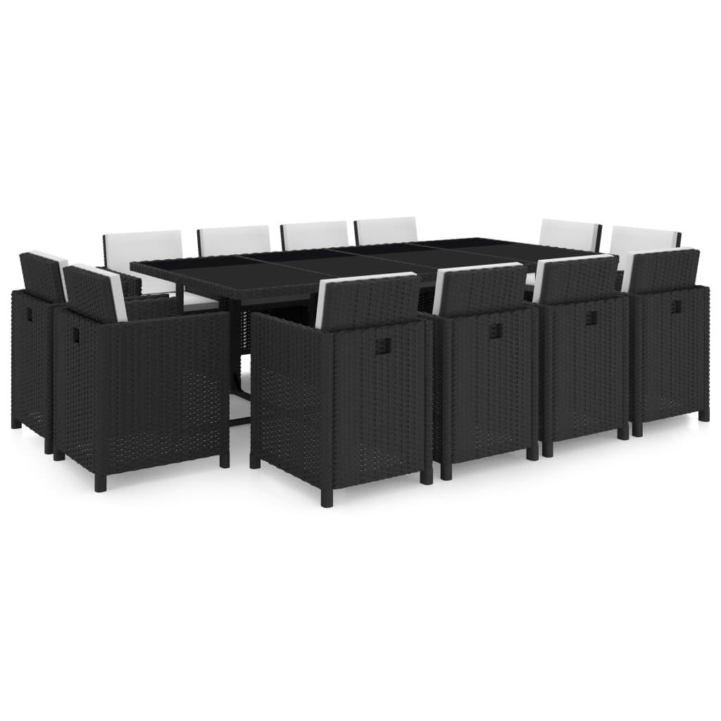 Vidaxl mobili giardino set polirattan sintetico nero for Sconti mobili da giardino