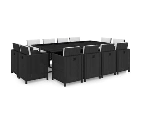vidaXL 13 Piece Outdoor Dining Set with Cushions Poly Rattan Black[1/10]