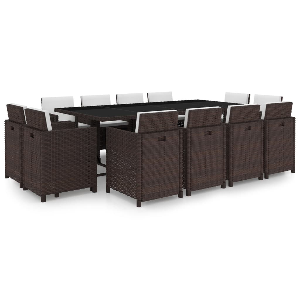 vidaXL Set mobilier de exterior cu perne, 13 piese, maro, poliratan vidaxl.ro