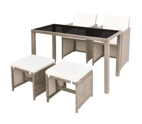 vidaXL Salon de jardin encastrable avec coussins 5 pcs Rotin Beige