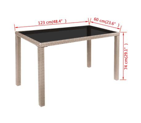 vidaXL 5-daļīgs dārza mēbeļu komplekts ar matračiem, PE pinums, bēšs[9/11]