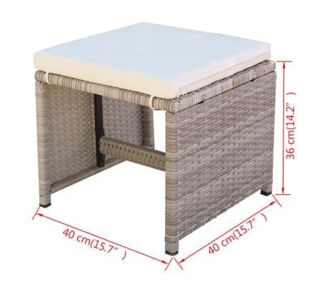 vidaXL 5-daļīgs dārza mēbeļu komplekts ar matračiem, PE pinums, bēšs[11/11]