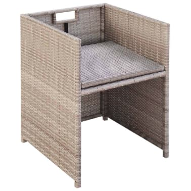 vidaXL 5-daļīgs dārza mēbeļu komplekts ar matračiem, PE pinums, bēšs[7/11]