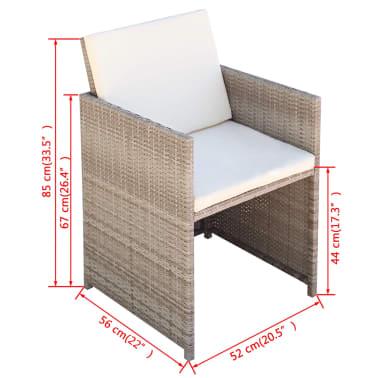 vidaXL 5-daļīgs dārza mēbeļu komplekts ar matračiem, PE pinums, bēšs[10/11]