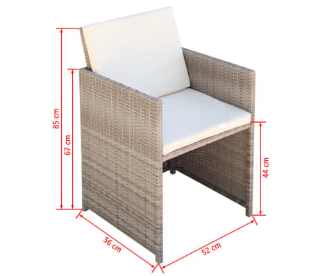 vidaxl 21 teilige garten essgruppe poly rattan grau beige g nstig kaufen. Black Bedroom Furniture Sets. Home Design Ideas