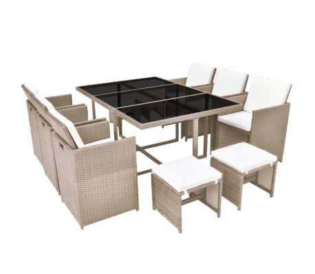 vidaXL udendørs spisebordssæt 11 dele med hynder polyrattan beige