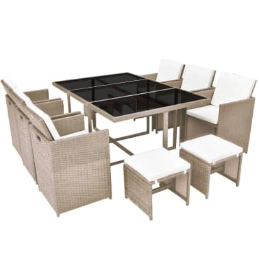 vidaXL 11 Piece Outdoor Dining Set with Cushions Poly Rattan Beige[2/11]