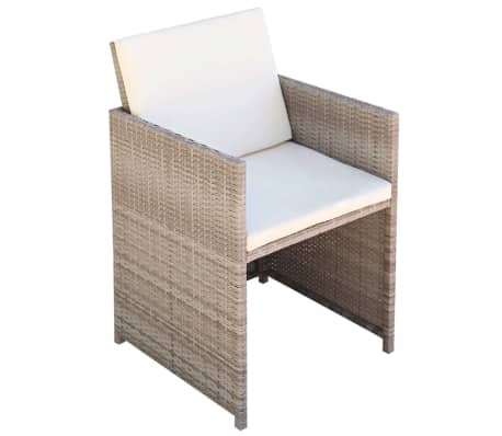 vidaXL 11 Piece Outdoor Dining Set with Cushions Poly Rattan Beige[6/11]