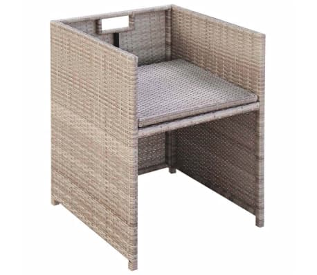 vidaXL 11 Piece Outdoor Dining Set with Cushions Poly Rattan Beige[7/11]