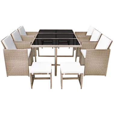 vidaXL 11 Piece Outdoor Dining Set with Cushions Poly Rattan Beige[3/11]