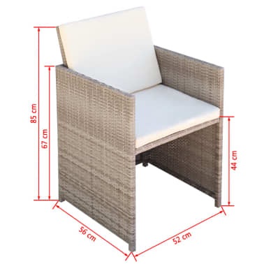 vidaXL 11 Piece Outdoor Dining Set with Cushions Poly Rattan Beige[10/11]
