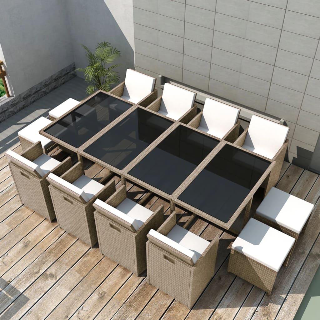 vidaXL Outdoor Dining Set 33 Pieces Grey/Beige Poly Rattan
