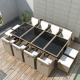 vidaXL 13 Piece Outdoor Dining Set with Cushions Poly Rattan Beige