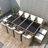vidaXL udendørs spisebordssæt 13 dele med hynder polyrattan beige