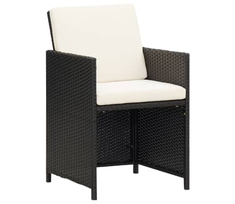 vidaXL Garden Chairs 2 pcs with Cushions and Pillows Poly Rattan Black[1/3]