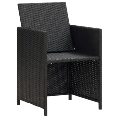 vidaXL Garden Chairs 2 pcs with Cushions and Pillows Poly Rattan Black[2/3]