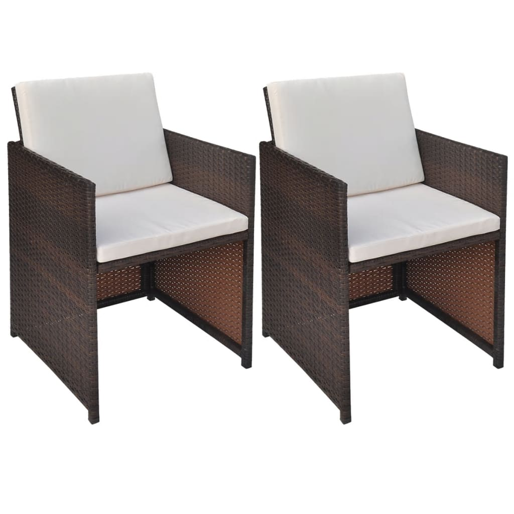 vidaXL Dining Chairs 2 pcs Brown 52x56x85 cm Poly Rattan
