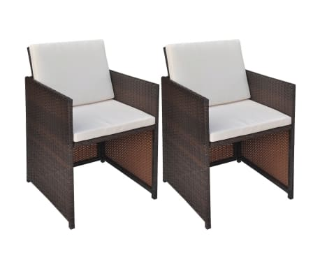 vidaxl esszimmerst hle 2 stk braun 52 56 85 cm poly rattan g nstig kaufen. Black Bedroom Furniture Sets. Home Design Ideas